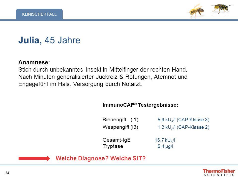 24 KLINISCHER FALL Julia, 45 Jahre Anamnese: Stich durch unbekanntes Insekt in Mittelfinger der rechten Hand. Nach Minuten generalisierter Juckreiz &