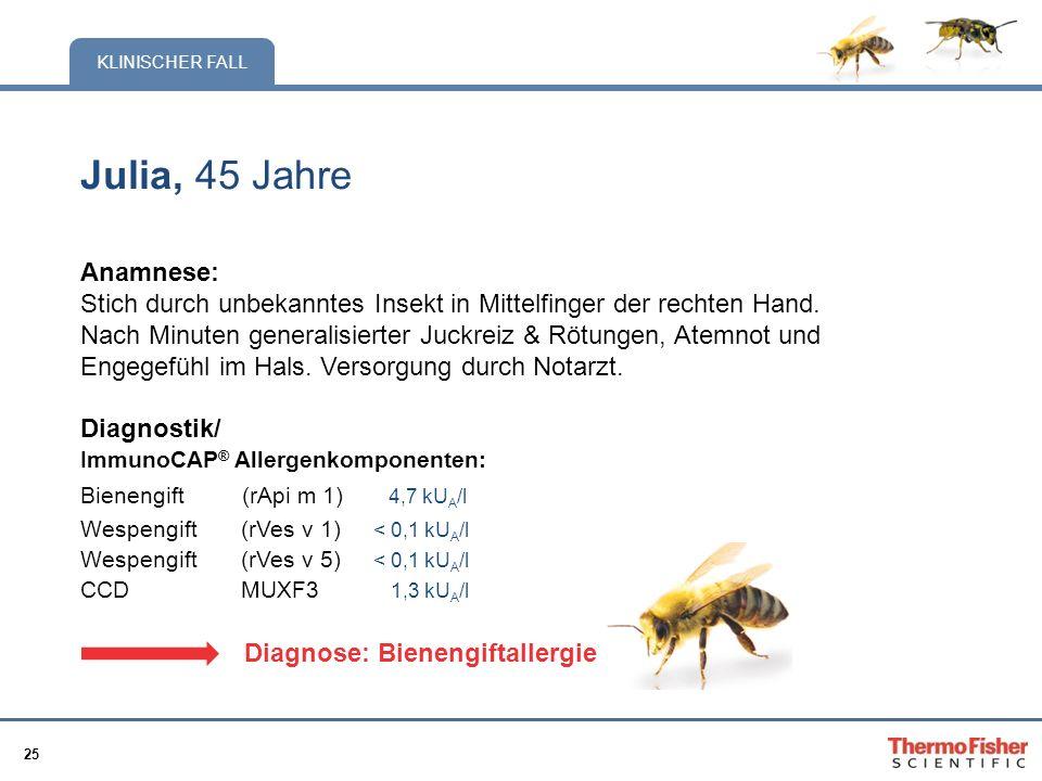 25 KLINISCHER FALL Julia, 45 Jahre Anamnese: Stich durch unbekanntes Insekt in Mittelfinger der rechten Hand. Nach Minuten generalisierter Juckreiz &