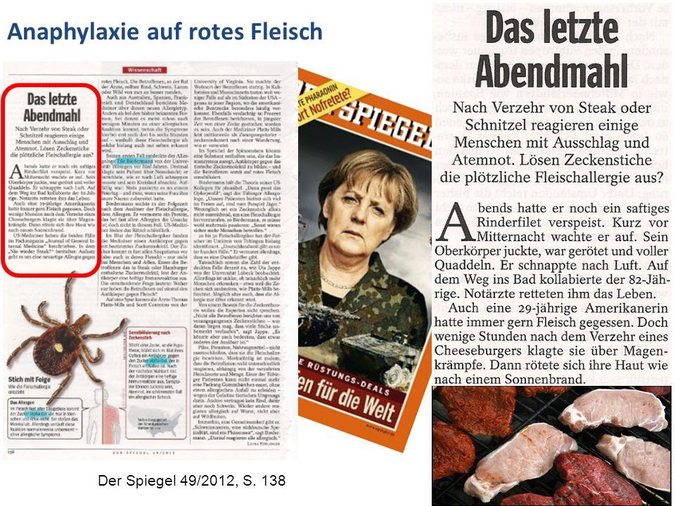 Der Spiegel 49/2012, S. 138 Anaphylaxie auf rotes Fleisch