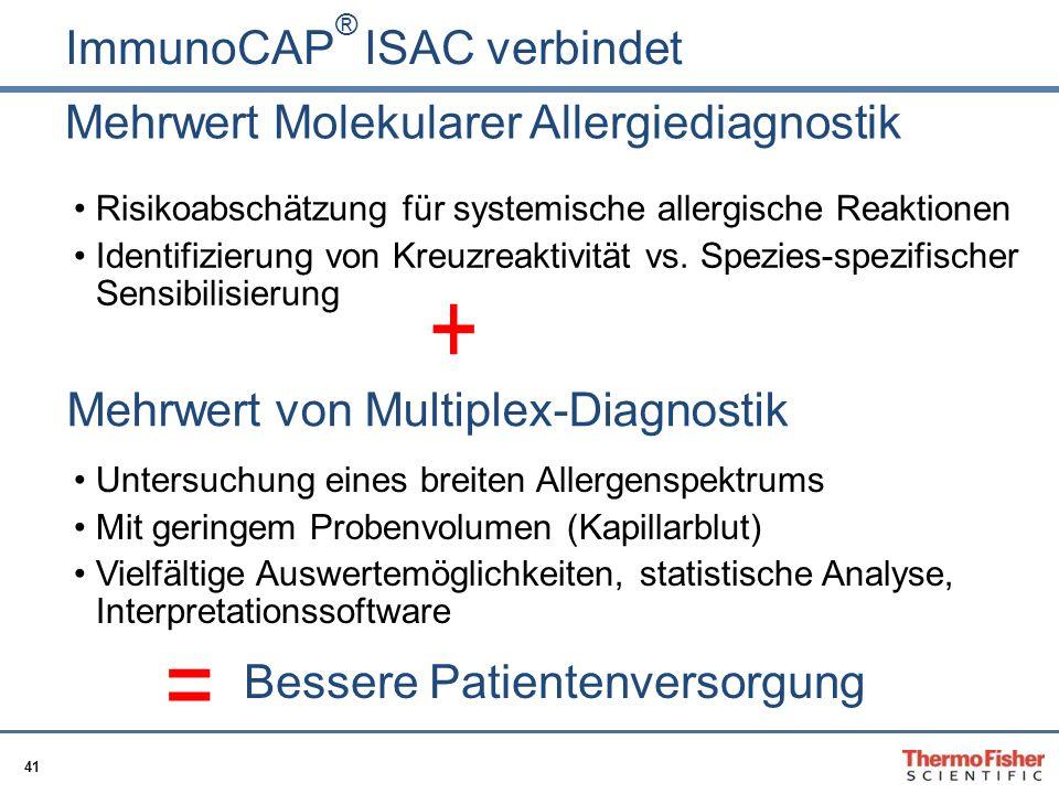 41 Mehrwert Molekularer Allergiediagnostik Risikoabschätzung für systemische allergische Reaktionen Identifizierung von Kreuzreaktivität vs. Spezies-s