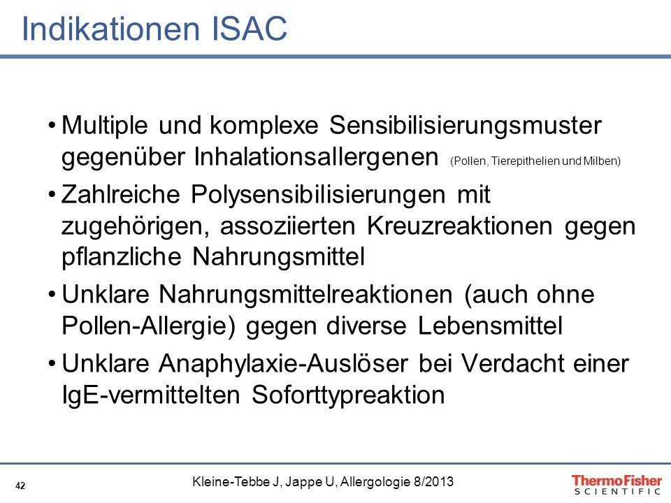 42 Indikationen ISAC Multiple und komplexe Sensibilisierungsmuster gegenüber Inhalationsallergenen (Pollen, Tierepithelien und Milben) Zahlreiche Poly