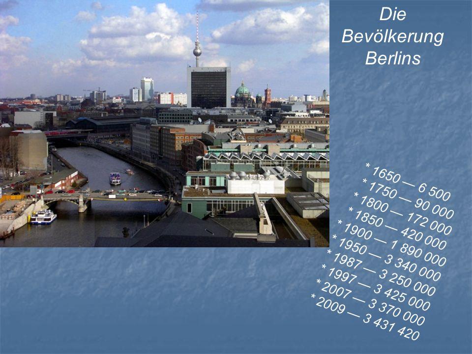 Die Bevölkerung Berlins * 1650 6 500 * 1750 90 000 * 1800 172 000 * 1850 420 000 * 1900 1 890 000 * 1950 3 340 000 * 1987 3 250 000 * 1997 3 425 000 *