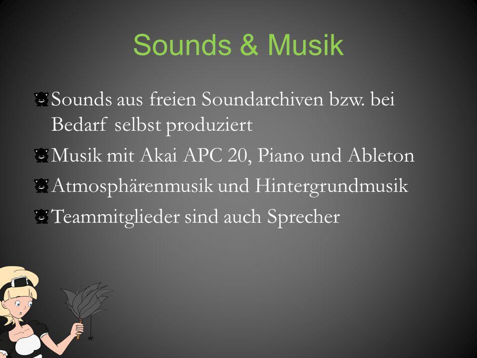 Sounds & Musik Sounds aus freien Soundarchiven bzw. bei Bedarf selbst produziert Musik mit Akai APC 20, Piano und Ableton Atmosphärenmusik und Hinterg