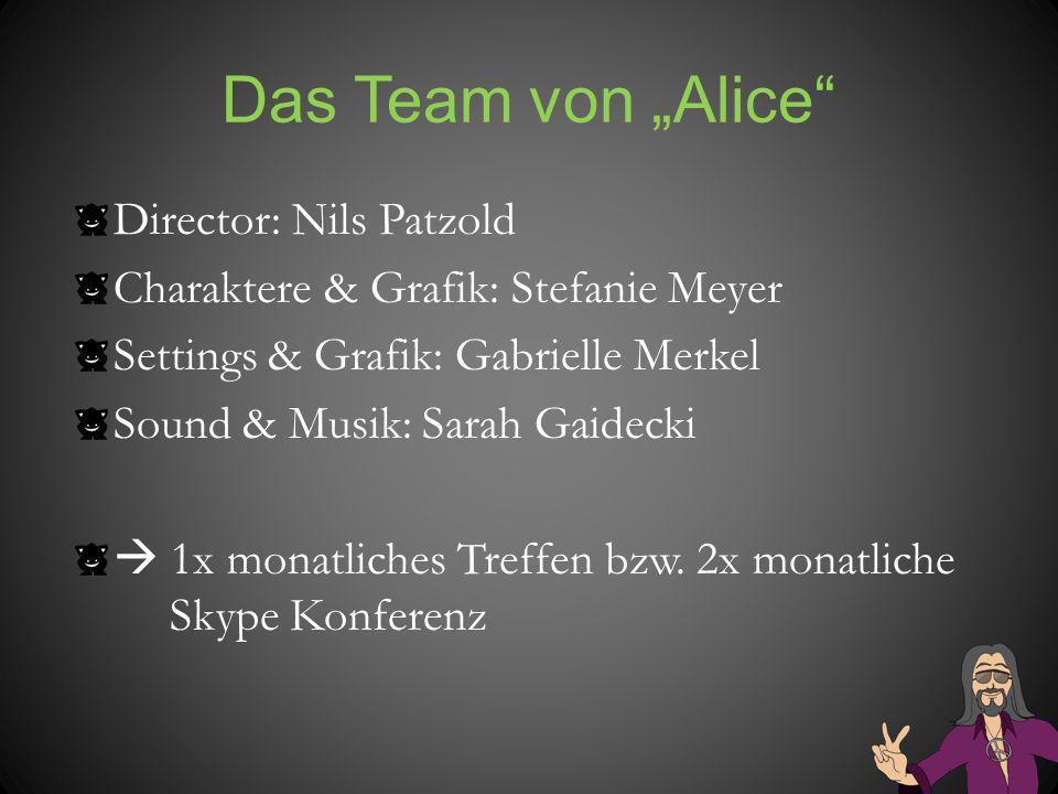Das Team von Alice Director: Nils Patzold Charaktere & Grafik: Stefanie Meyer Settings & Grafik: Gabrielle Merkel Sound & Musik: Sarah Gaidecki 1x mon