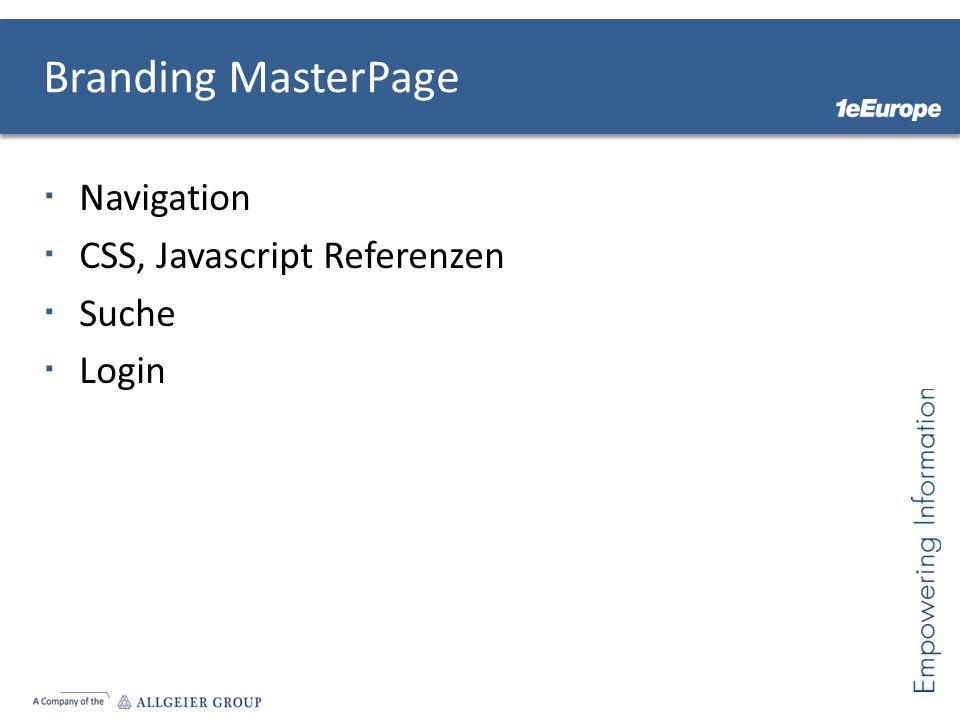 Navigation CSS, Javascript Referenzen Suche Login