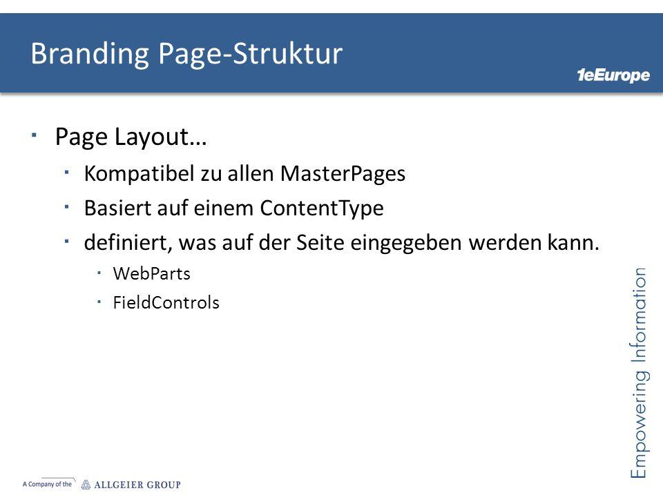 Branding Page-Struktur Page Layout… Kompatibel zu allen MasterPages Basiert auf einem ContentType definiert, was auf der Seite eingegeben werden kann.