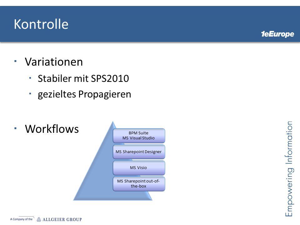 Variationen Stabiler mit SPS2010 gezieltes Propagieren Workflows Kontrolle