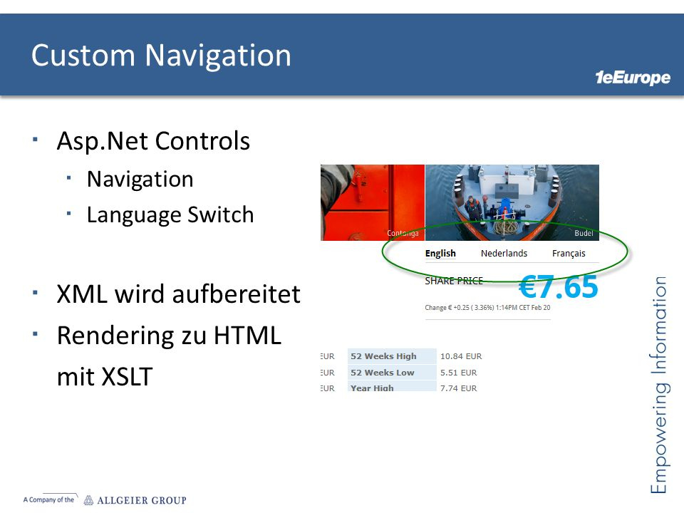 Custom Navigation Asp.Net Controls Navigation Language Switch XML wird aufbereitet Rendering zu HTML mit XSLT