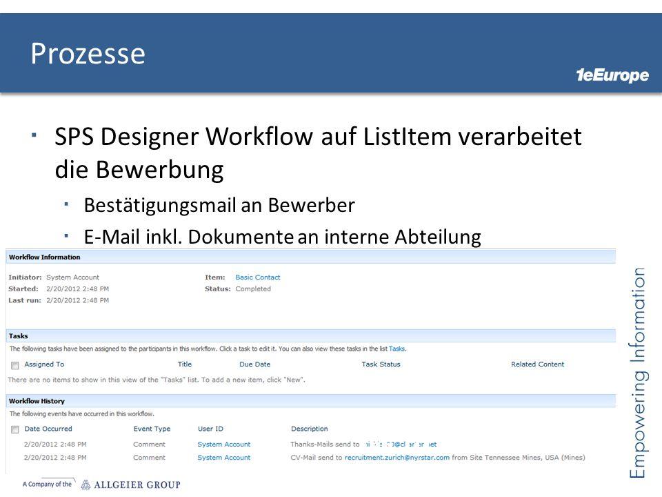 Prozesse SPS Designer Workflow auf ListItem verarbeitet die Bewerbung Bestätigungsmail an Bewerber E-Mail inkl. Dokumente an interne Abteilung