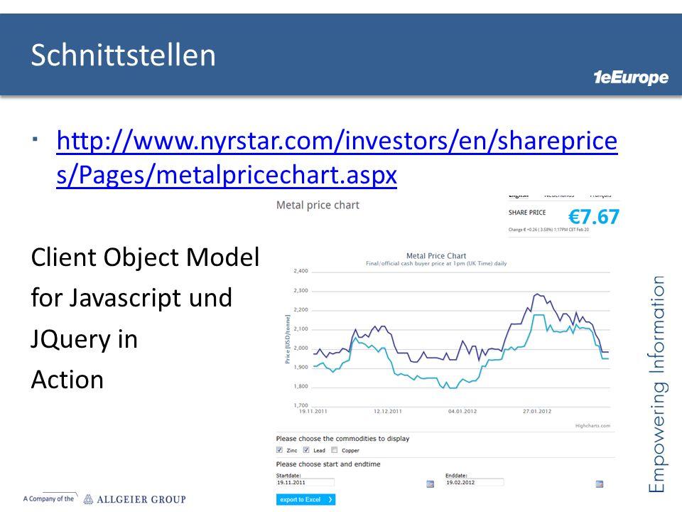 Schnittstellen http://www.nyrstar.com/investors/en/shareprice s/Pages/metalpricechart.aspx http://www.nyrstar.com/investors/en/shareprice s/Pages/meta
