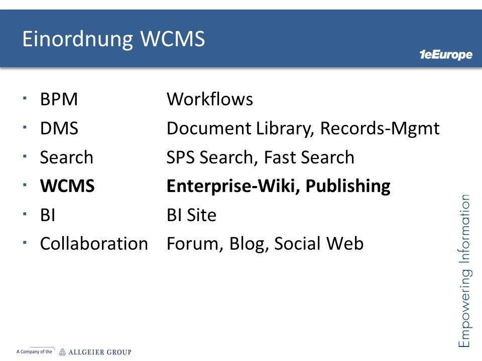 Einordnung WCMS BPMWorkflows DMSDocument Library, Records-Mgmt SearchSPS Search, Fast Search WCMSEnterprise-Wiki, Publishing BIBI Site CollaborationForum, Blog, Social Web