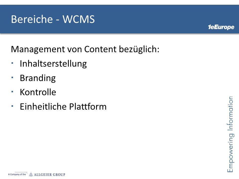 Bereiche - WCMS Management von Content bezüglich: Inhaltserstellung Branding Kontrolle Einheitliche Plattform