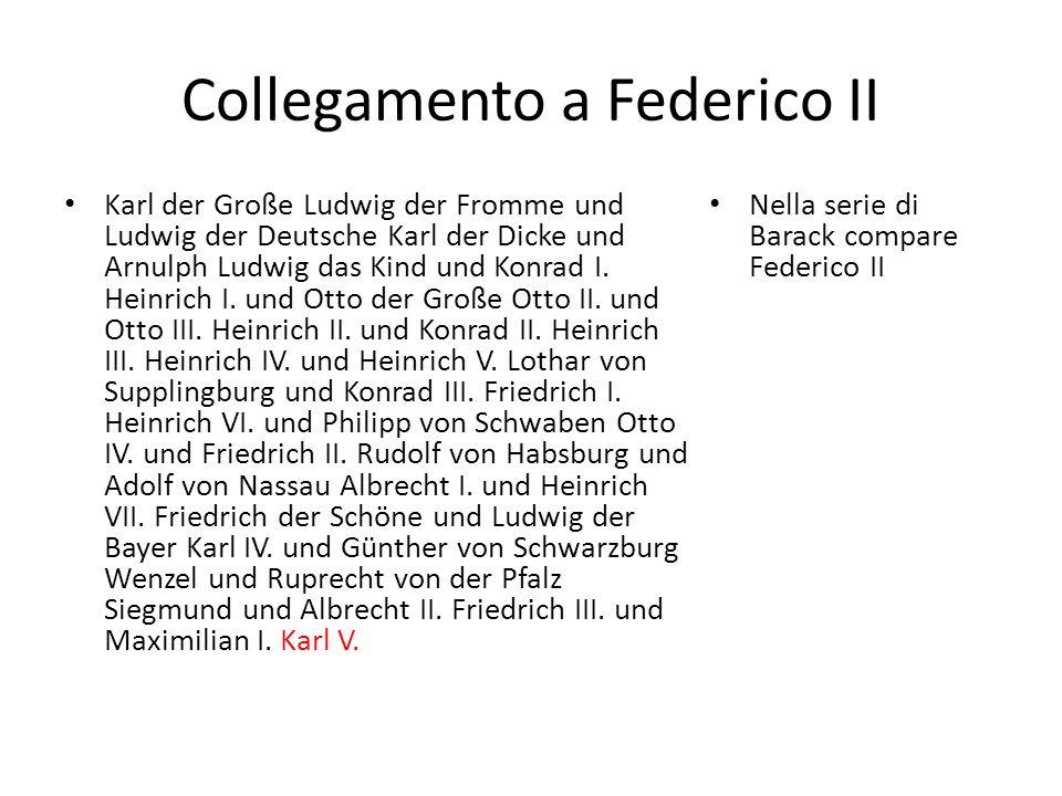 Collegamento a Federico II Karl der Große Ludwig der Fromme und Ludwig der Deutsche Karl der Dicke und Arnulph Ludwig das Kind und Konrad I. Heinrich
