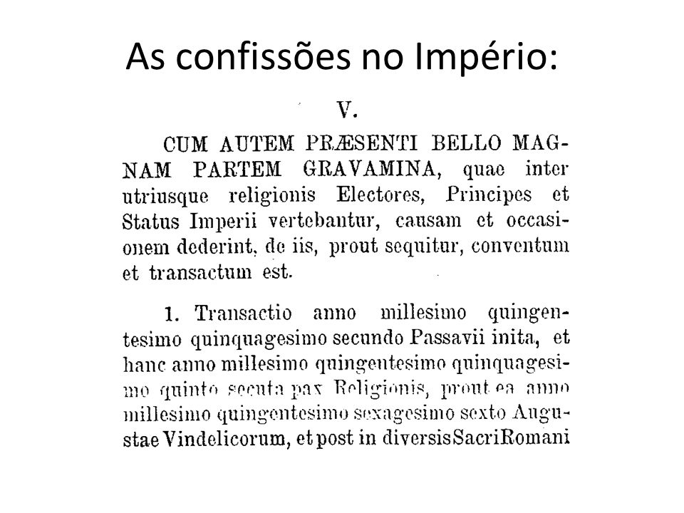 As confissões no Império: