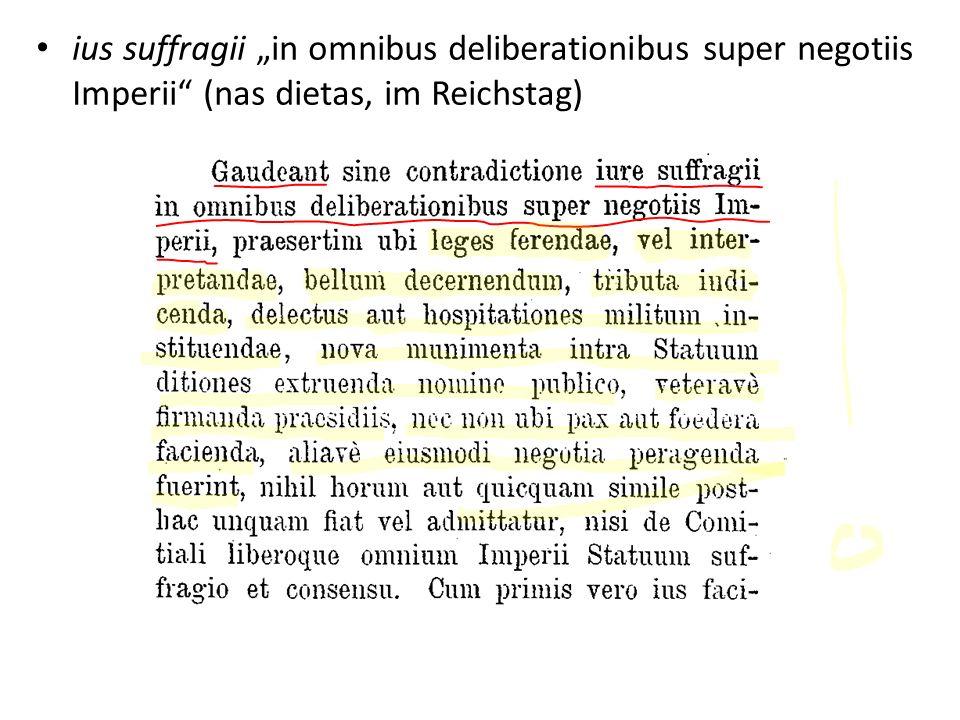 ius suffragii in omnibus deliberationibus super negotiis Imperii (nas dietas, im Reichstag)