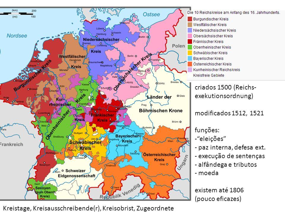 criados 1500 (Reichs- exekutionsordnung) modificados 1512, 1521 funções: -eleições - paz interna, defesa ext. - execução de sentenças - alfândega e tr