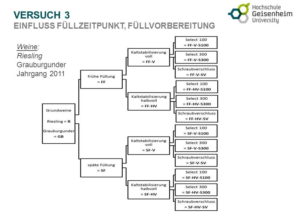 VERSUCH 3 EINFLUSS FÜLLZEITPUNKT, FÜLLVORBEREITUNG Weine: Riesling Grauburgunder Jahrgang 2011