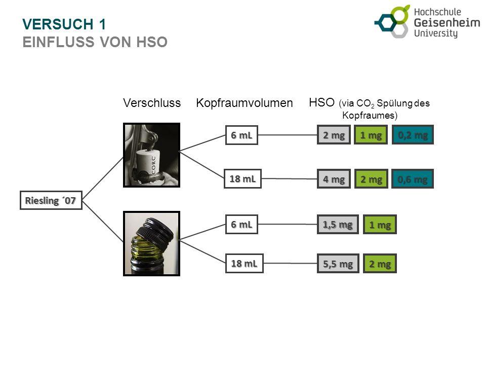 VERSUCH 1 EINFLUSS VON HSO Riesling ´07 Verschluss 6 mL 18 mL 6 mL 18 mL Kopfraumvolumen 2 mg 4 mg 0,6 mg 1,5 mg 2 mg 5,5 mg 1 mg 2 mg 0,2 mg 1 mg HSO (via CO 2 Spülung des Kopfraumes)