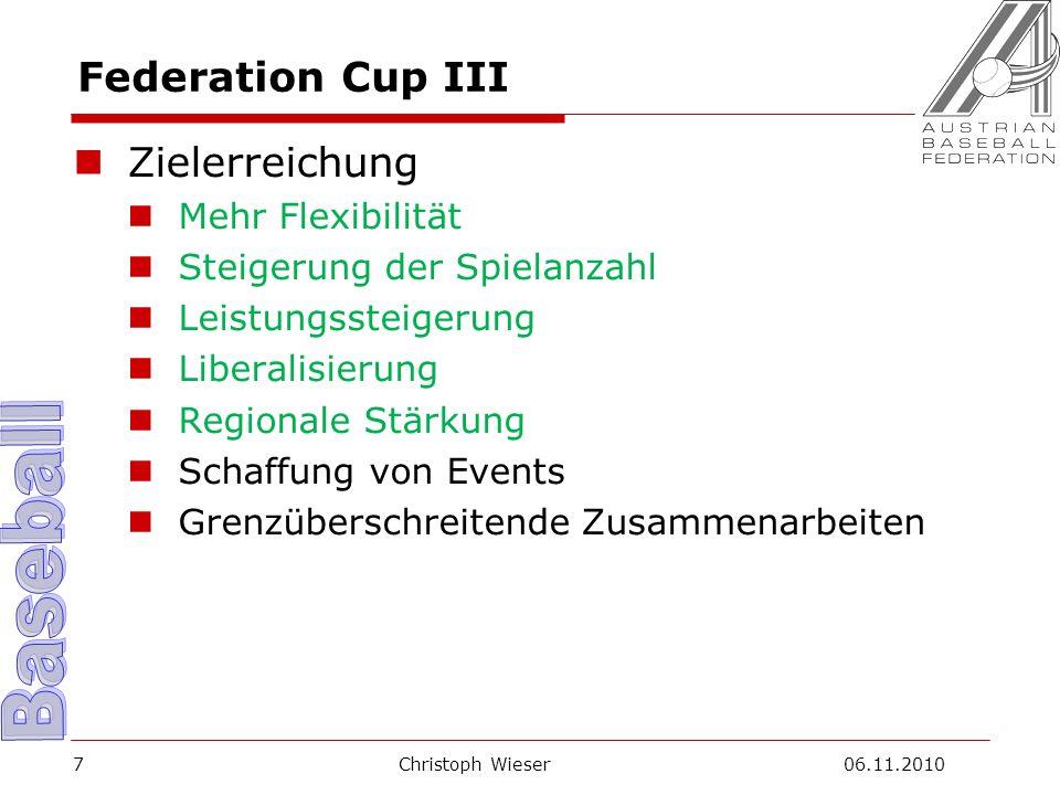 Christoph Wieser 06.11.20108 Federation Cup III Weiterentwicklung Weitgehender Entfall von Fristen Neues Punkte-System Einführung von Klassen Aufnahme von ausländischen Vereinen Diskussion