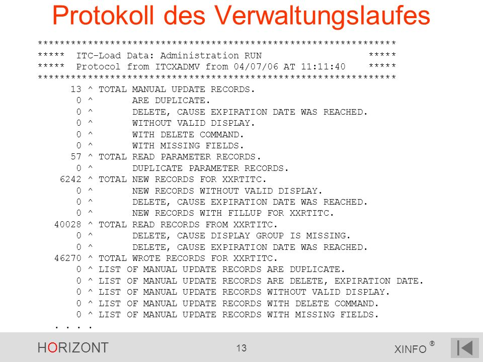 HORIZONT 13 XINFO ® Protokoll des Verwaltungslaufes **************************************************************** ***** ITC-Load Data: Administration RUN ***** ***** Protocol from ITCXADMV from 04/07/06 AT 11:11:40 ***** **************************************************************** 13 ^ TOTAL MANUAL UPDATE RECORDS.