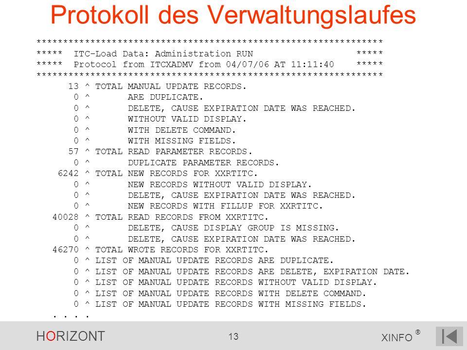 HORIZONT 13 XINFO ® Protokoll des Verwaltungslaufes **************************************************************** ***** ITC-Load Data: Administrati