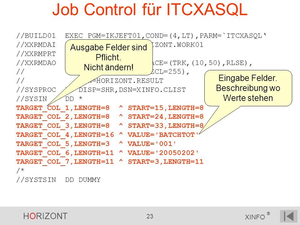 HORIZONT 23 XINFO ® Job Control für ITCXASQL //BUILD01 EXEC PGM=IKJEFT01,COND=(4,LT),PARM=`ITCXASQL //XXRMDAI DD DISP=SHR,DSN=HORIZONT.WORK01 //XXRMPR