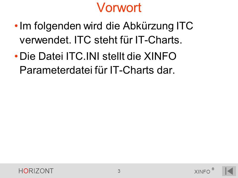 HORIZONT 3 XINFO ® Vorwort Im folgenden wird die Abkürzung ITC verwendet. ITC steht für IT-Charts. Die Datei ITC.INI stellt die XINFO Parameterdatei f