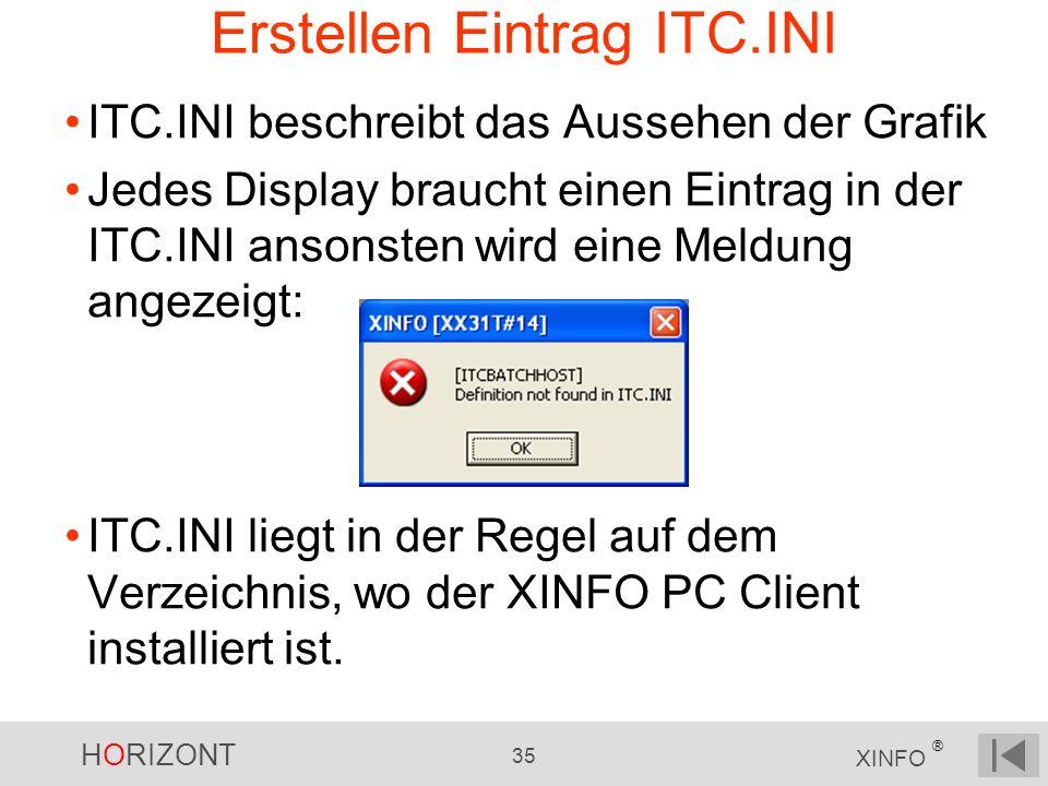 HORIZONT 35 XINFO ® Erstellen Eintrag ITC.INI ITC.INI beschreibt das Aussehen der Grafik Jedes Display braucht einen Eintrag in der ITC.INI ansonsten