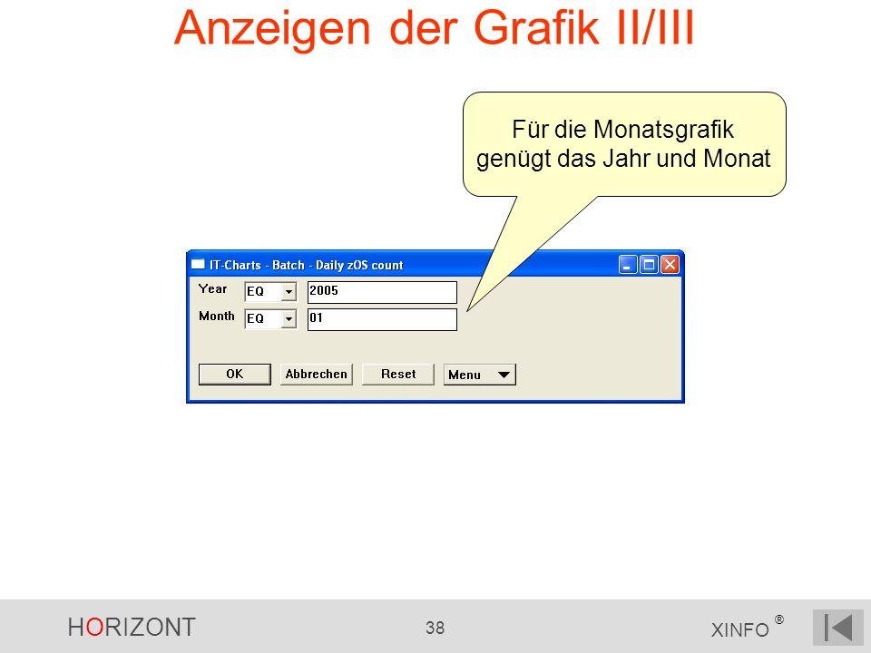 HORIZONT 38 XINFO ® Anzeigen der Grafik II/III Für die Monatsgrafik genügt das Jahr und Monat