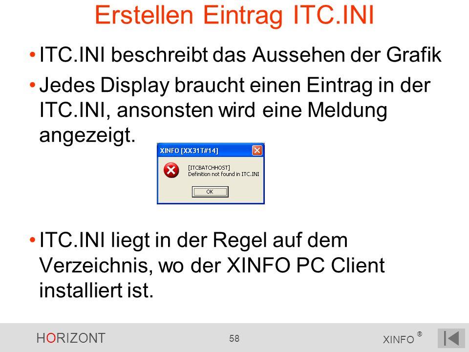 HORIZONT 58 XINFO ® Erstellen Eintrag ITC.INI ITC.INI beschreibt das Aussehen der Grafik Jedes Display braucht einen Eintrag in der ITC.INI, ansonsten