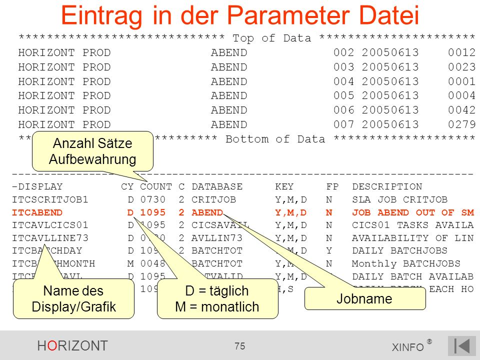HORIZONT 75 XINFO ® Eintrag in der Parameter Datei ------------------------------------------------------------------------ -DISPLAY CY COUNT C DATABA