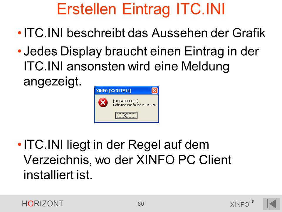HORIZONT 80 XINFO ® Erstellen Eintrag ITC.INI ITC.INI beschreibt das Aussehen der Grafik Jedes Display braucht einen Eintrag in der ITC.INI ansonsten