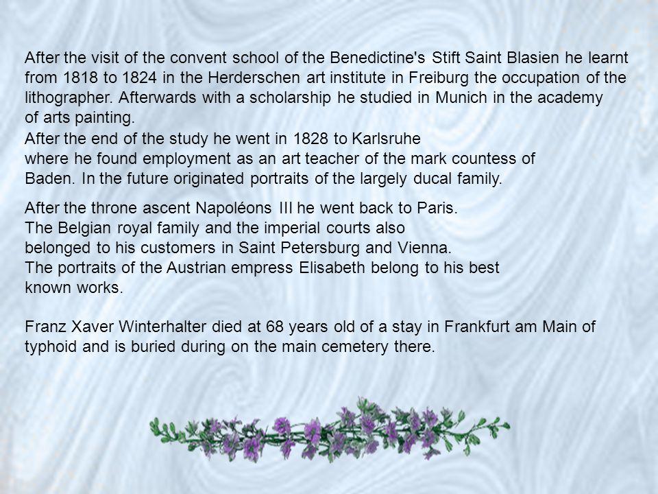 Franz Xaver Winterhalter 20. April 1805 inMenzenschwand im Schwarzwald; 8. Juli 1873 in Frankfurt am Main20. April1805Menzenschwand Schwarzwald8. Juli