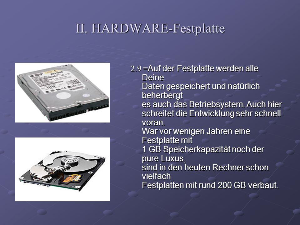 II. HARDWARE-Festplatte 2.9 = Auf der Festplatte werden alle Deine Daten gespeichert und natürlich beherbergt es auch das Betriebsystem. Auch hier sch