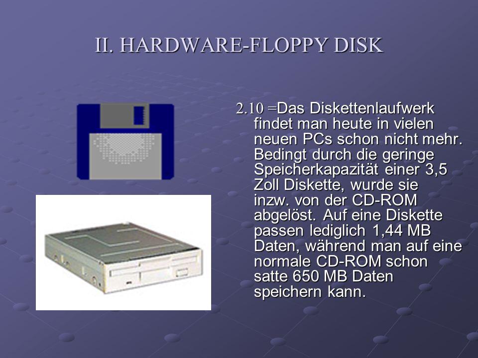 II. HARDWARE-FLOPPY DISK 2.10 = Das Diskettenlaufwerk findet man heute in vielen neuen PCs schon nicht mehr. Bedingt durch die geringe Speicherkapazit