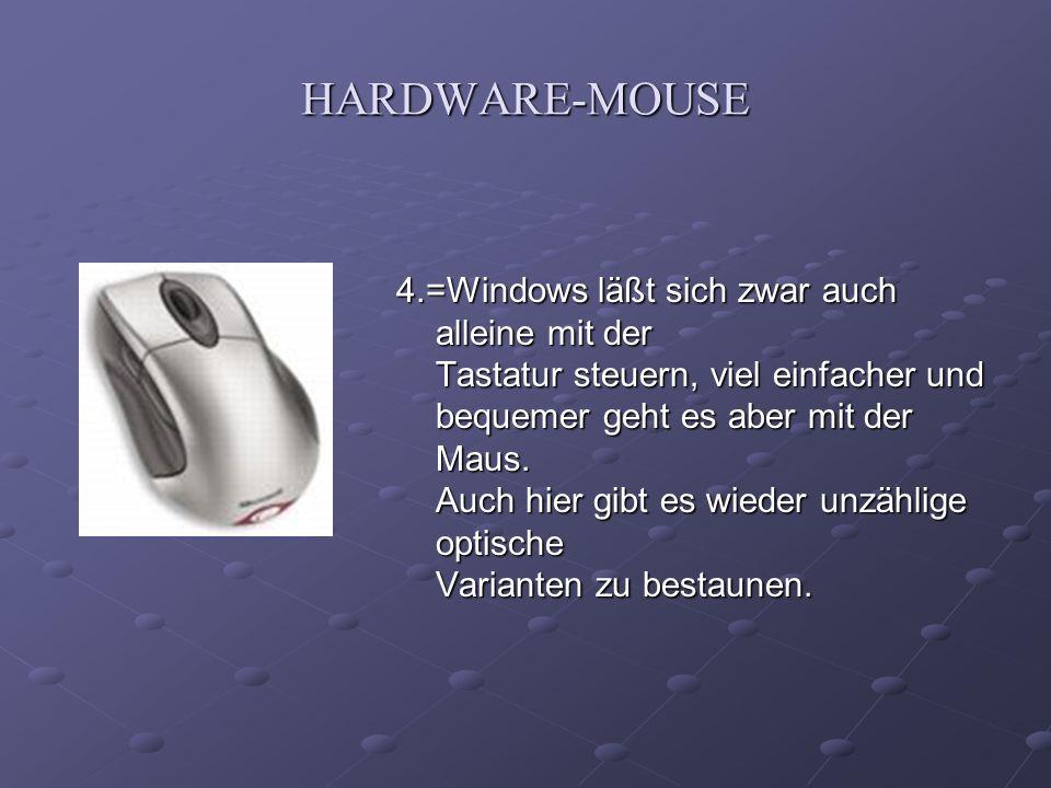 HARDWARE-MOUSE 4.=Windows läßt sich zwar auch alleine mit der Tastatur steuern, viel einfacher und bequemer geht es aber mit der Maus. Auch hier gibt