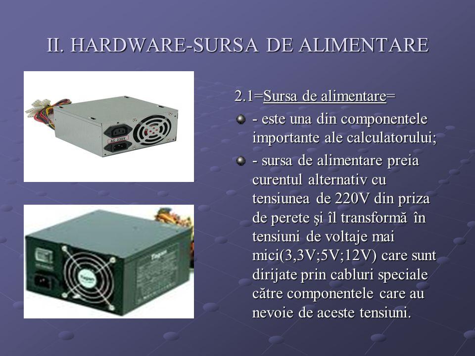 II. HARDWARE-SURSA DE ALIMENTARE 2.1=Sursa de alimentare= - este una din componentele importante ale calculatorului; - sursa de alimentare preia curen