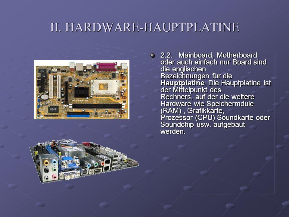 II. HARDWARE-HAUPTPLATINE 2.2.Mainboard, Motherboard oder auch einfach nur Board sind die englischen Bezeichnungen für die Hauptplatine. Die Hauptplat