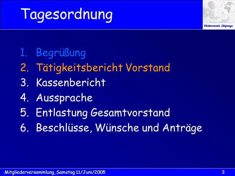 14Mitgliederversammlung, Samstag 11/Juni/2005 Schulgebühren: Budget: für Bildung in 2005 = MK 120.000,- (ca.