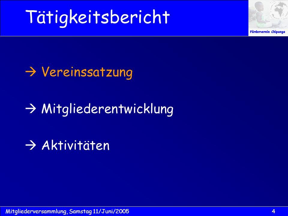 15Mitgliederversammlung, Samstag 11/Juni/2005 Vereinssatzung...