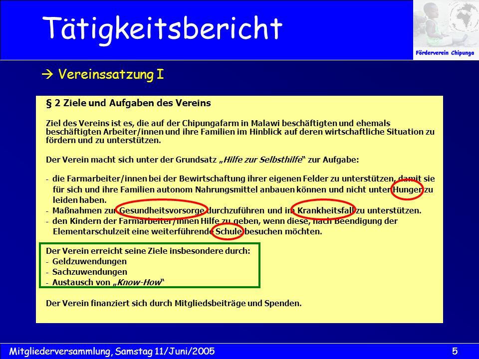 6Mitgliederversammlung, Samstag 11/Juni/2005 § 7 Mitgliederversammlung 1.