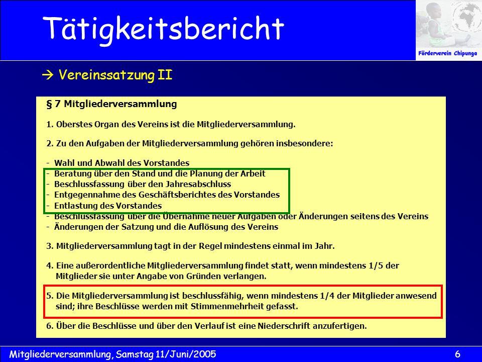 17Mitgliederversammlung, Samstag 11/Juni/2005 Kassenbuch 2004 Kassenbericht