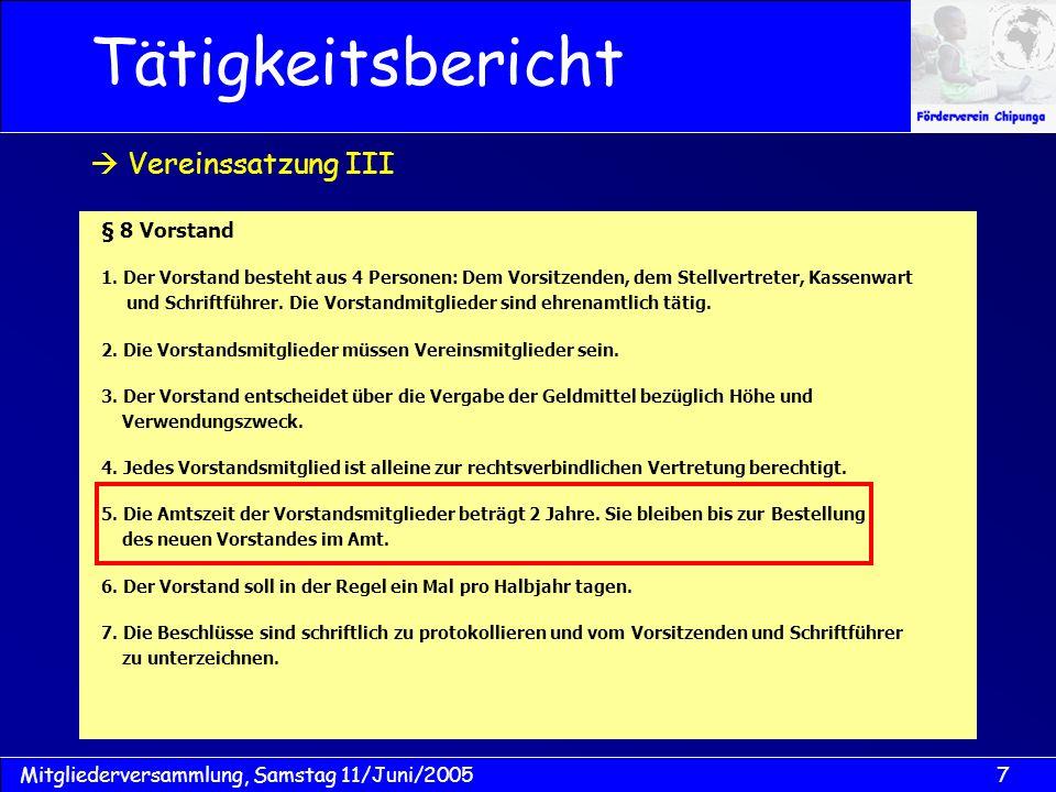 18Mitgliederversammlung, Samstag 11/Juni/2005 Kassenbuch 2005 Kassenbericht