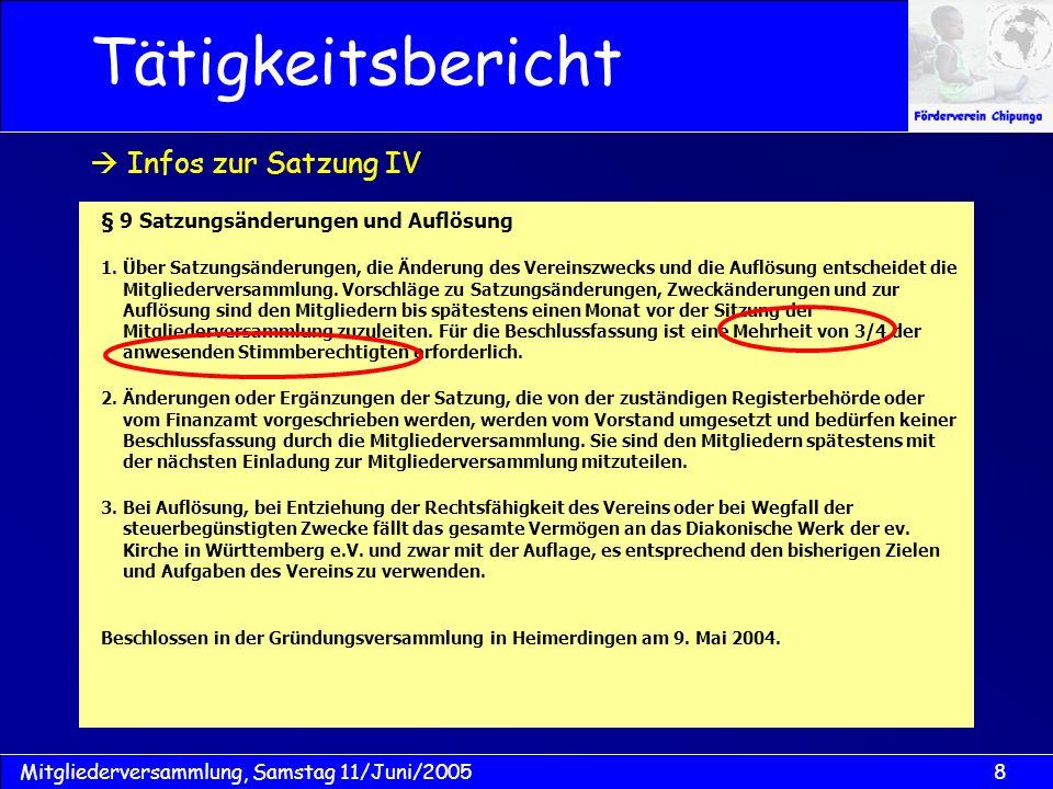 9Mitgliederversammlung, Samstag 11/Juni/2005 Vereinssatzung Mitgliederentwicklung Aktivitäten Tätigkeitsbericht