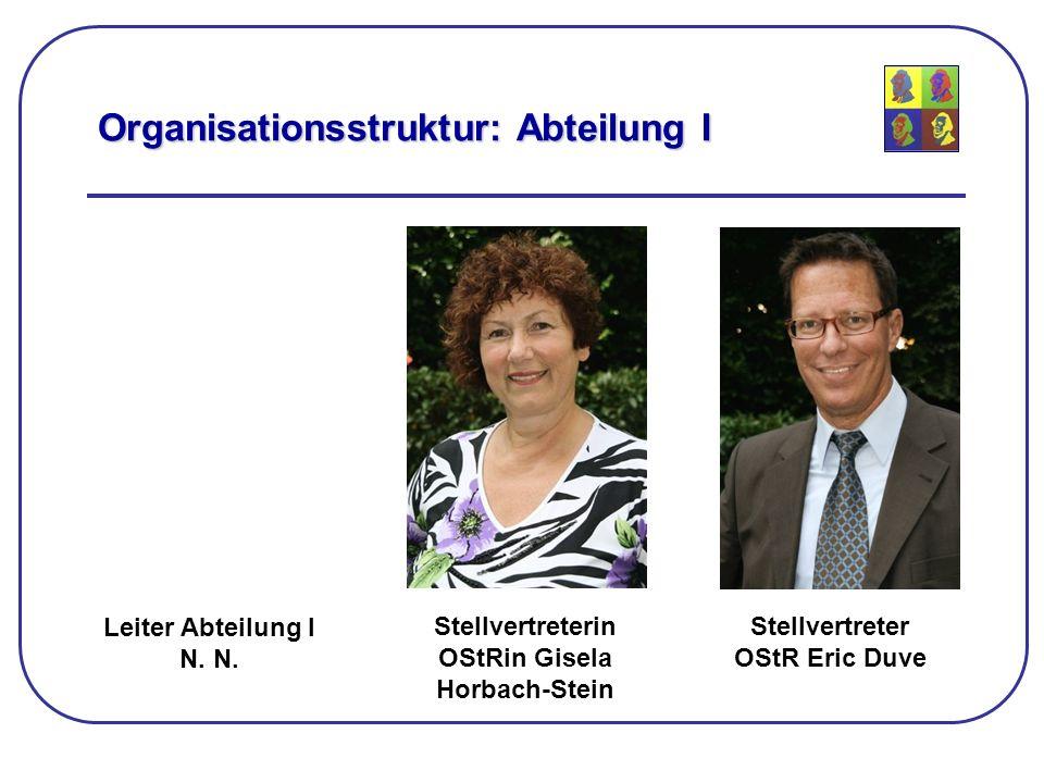 Leiter Abteilung I N. Organisationsstruktur: Abteilung I Stellvertreterin OStRin Gisela Horbach-Stein Stellvertreter OStR Eric Duve