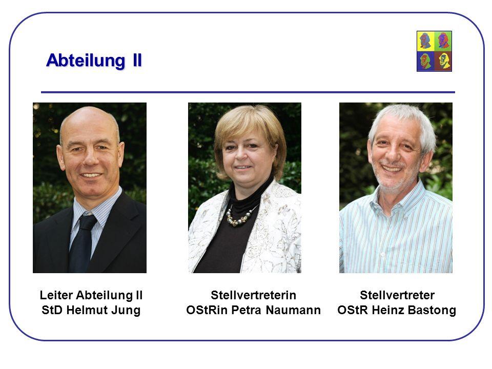 Leiter Abteilung II StD Helmut Jung Abteilung II Stellvertreterin OStRin Petra Naumann Stellvertreter OStR Heinz Bastong
