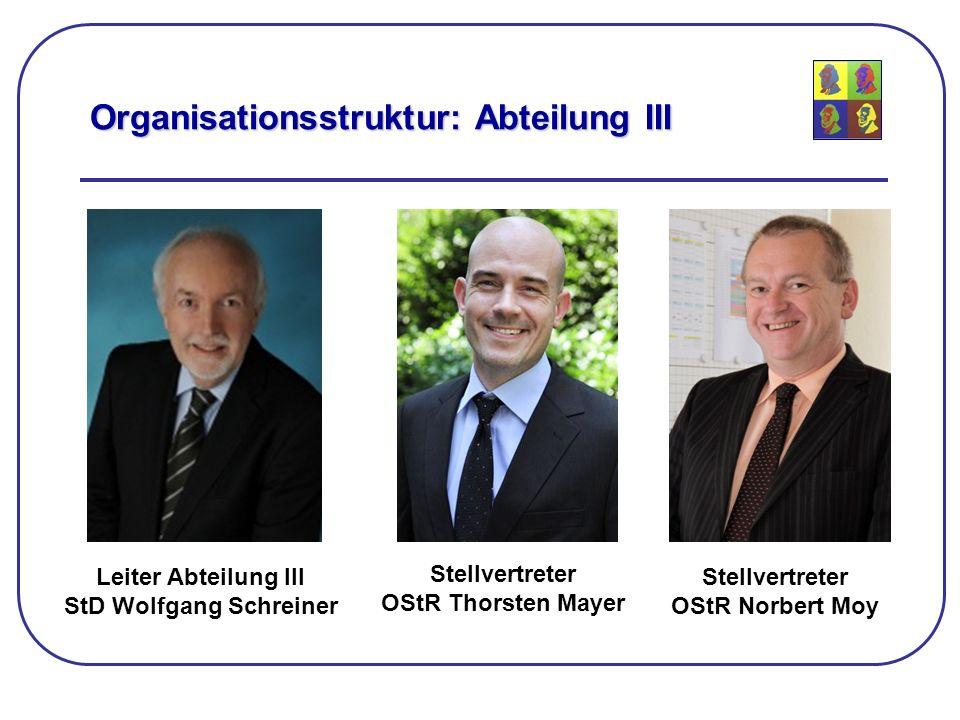 Organisationsstruktur: Abteilung III Leiter Abteilung III StD Wolfgang Schreiner Stellvertreter OStR Thorsten Mayer Stellvertreter OStR Norbert Moy