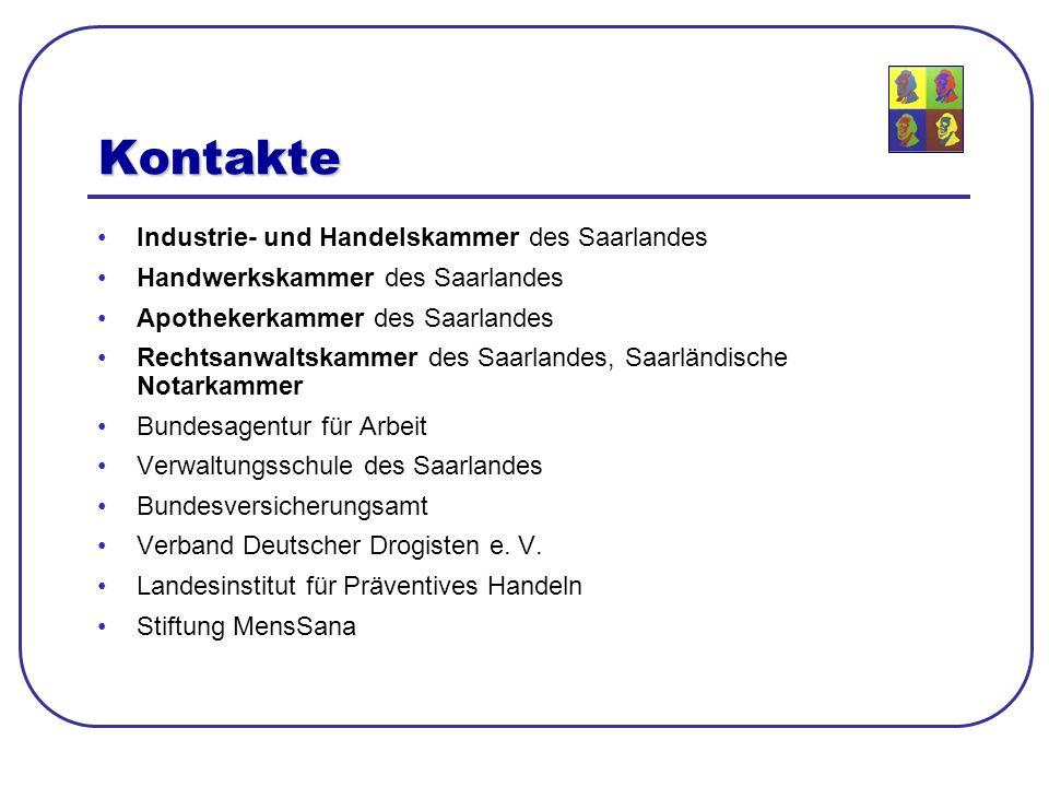Kontakte Industrie- und Handelskammer des Saarlandes Handwerkskammer des Saarlandes Apothekerkammer des Saarlandes Rechtsanwaltskammer des Saarlandes,