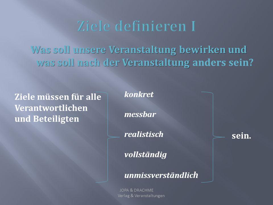 Entscheiden Information (Informationsvermittlung/Wissenstransfer) Innovation (etwas Neues soll erarbeitet werden) Motivation (Emotionsvermittlung/bspw