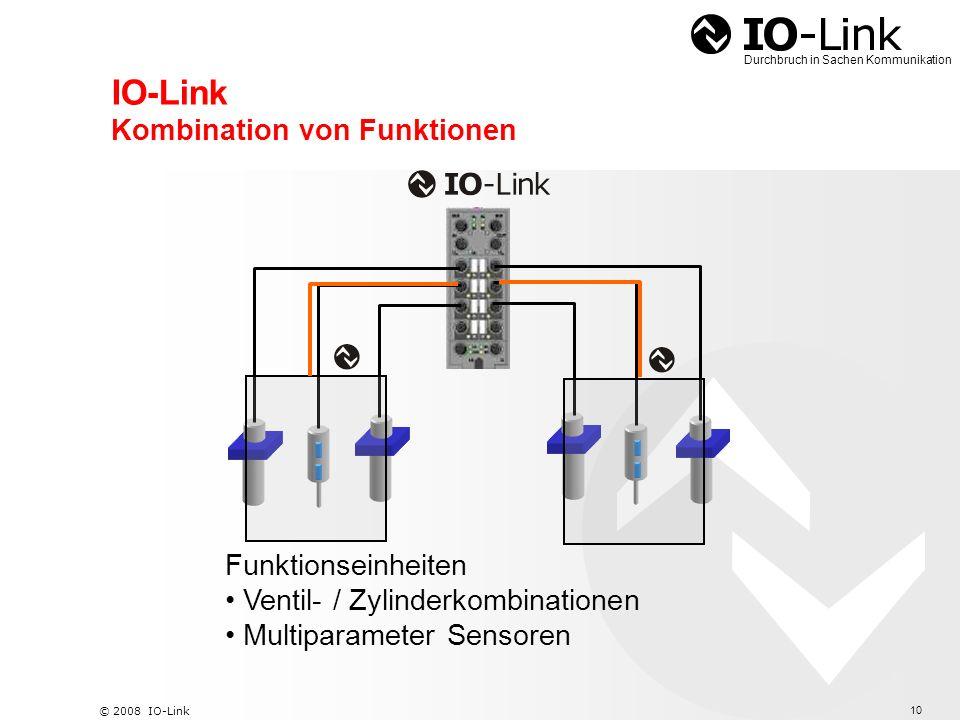 11 © 2008 IO-Link Durchbruch in Sachen Kommunikation Technische Eckpunkte Standard I/O Anschlusstechniken in Punkt zu Punkt Verbindung, ungeschirmt, 20m Leitungslänge Zyklische Prozessdatenübertragung in typ.